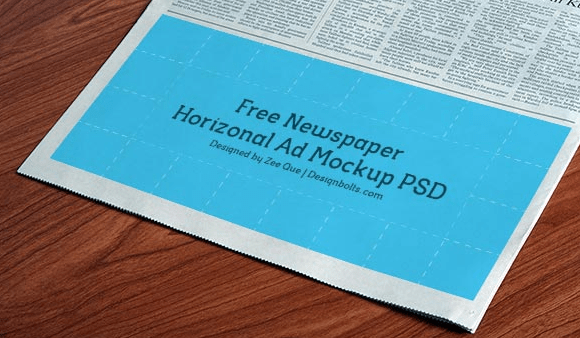 Horizontal Newspaper Ad Mockup PSD