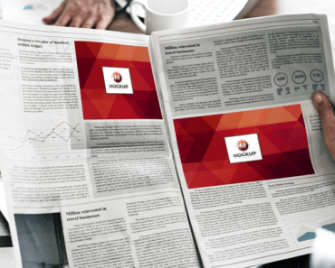Man Reading Multiple Ads Newspaper Mockup