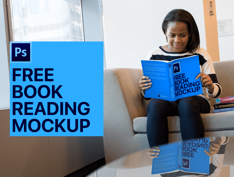 Book Cover Design Mockup Girl Reading a Book