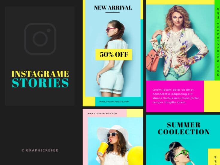 Free download Colourful Instagram stories PSD template