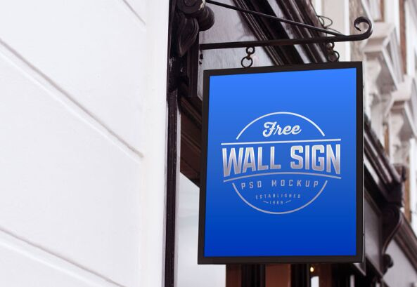 Wall Mounted Classic Wall Sign Mockup PSD
