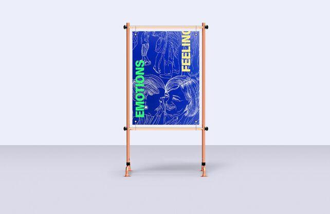 Display Metal Stand Poster Mockups