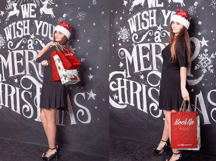 FREE CHRISTMAS SHOPPING BAG MOCK-UP