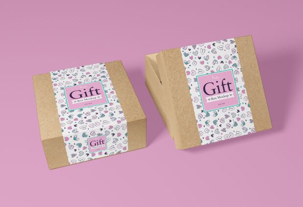 Free Packaging Craft Paper Gift Box Mockup PSD 2018