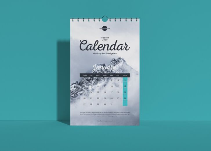 Modern 2020 Wall Calendar Mockup
