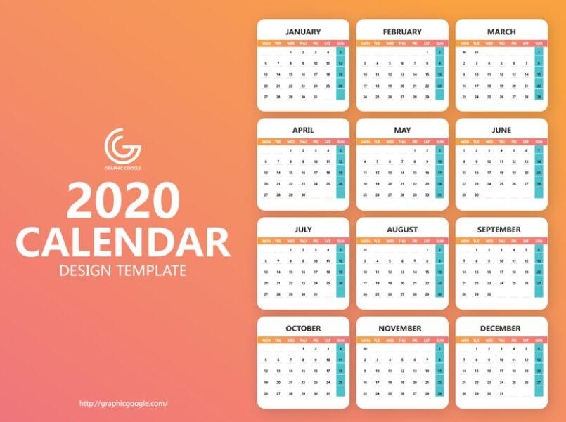Free 2020 Calendar Design Template