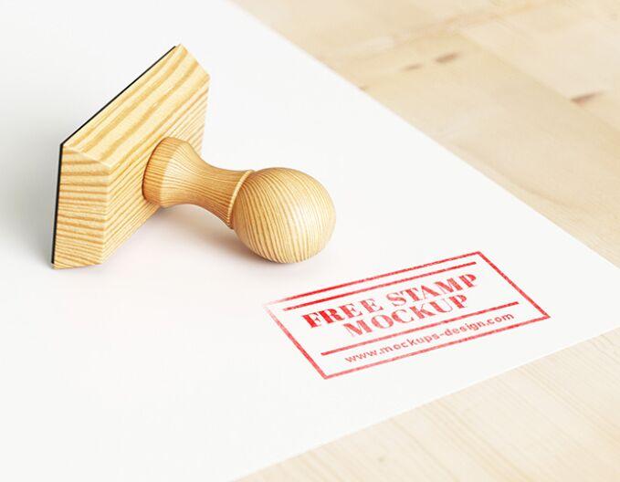Wood rubber stamp mockup PSD