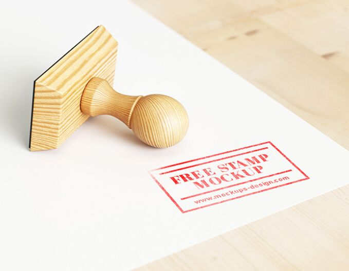 Wood rubber stamp mockup PSD