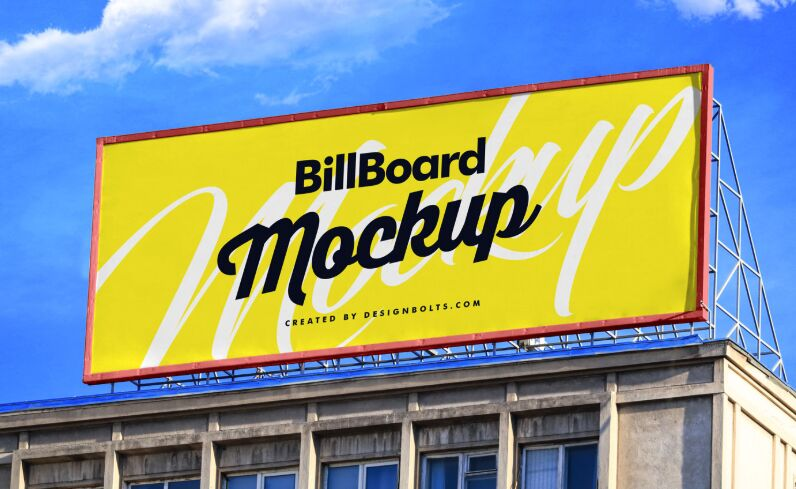 Free Billboard On Building Mockup PSD