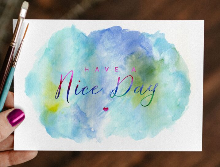Free Watercolor Painting Greeting Card Mockup PSD