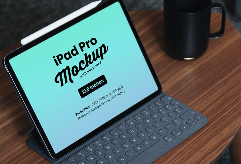 Free iPad Pro 12.9 Inches Mockup PSD with Keyboard