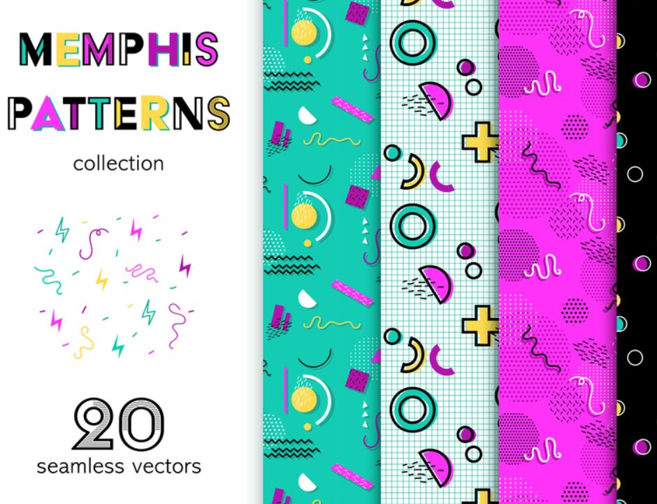 Memphis Design Vector Patterns