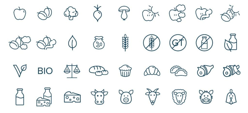 Healthy Food Icons Pack Vector
