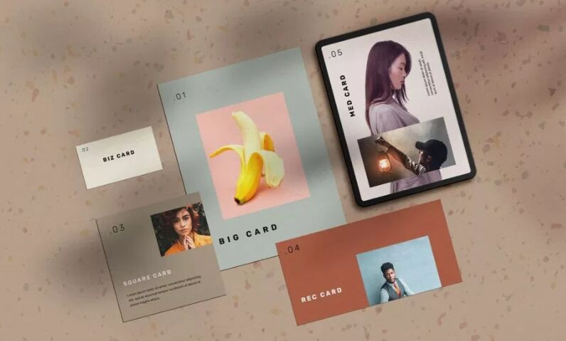 Stationery Cards Mockup Scene