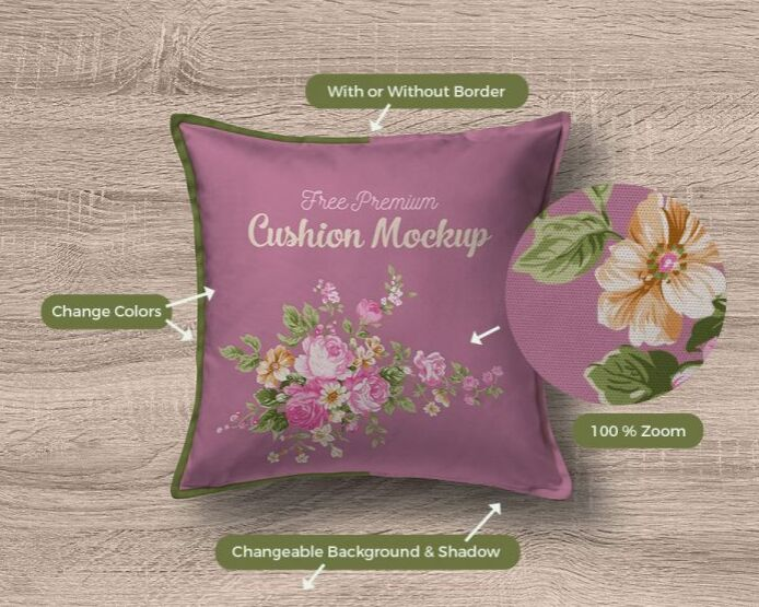Free Premium Pillow Cushion Cover Mockup PSD
