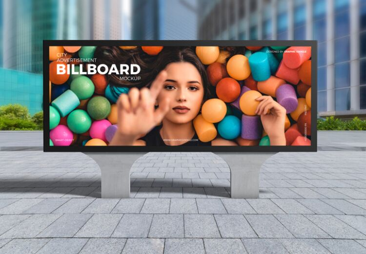 Free City Advertisement Billboard Mockup