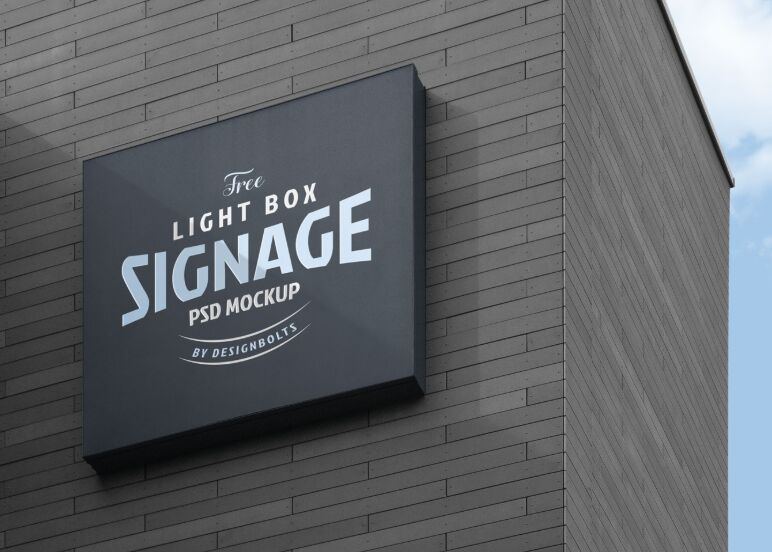 Free Wall Mounted Company Logo Signage Board on Building Mockup
