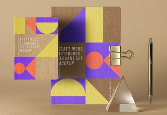 Psd Kraft Notebook Set Mockup