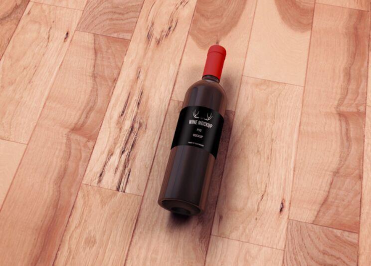 Wine Bottle On Wooden Floor PSD Mockup