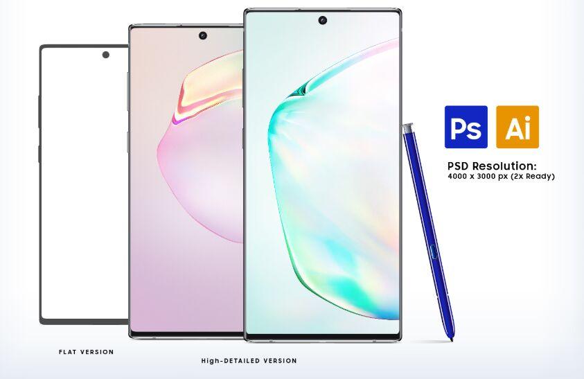 Free Samsung Galaxy Note10 & Note10+ Mockup PSD & Ai Files