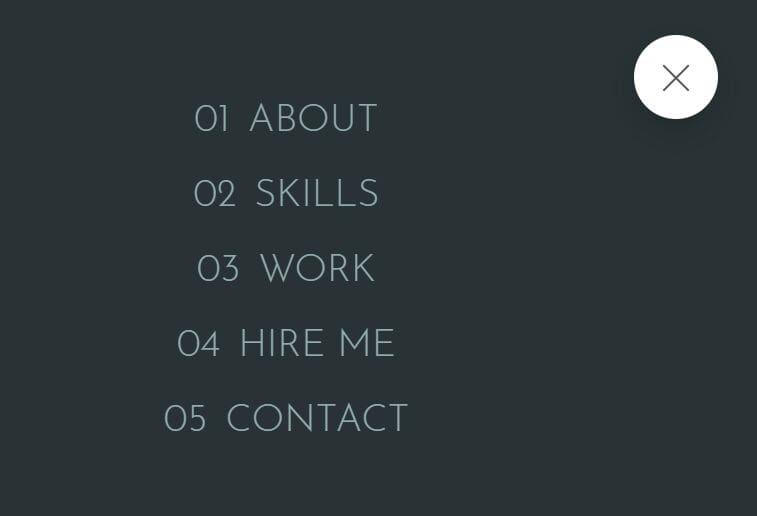 Modern Responsive Portfolio Web Template Fullscreen Nav