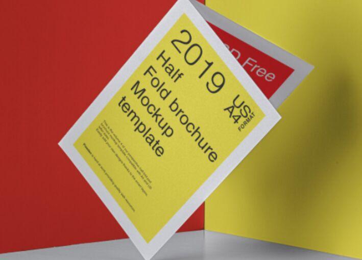 Psd Half Fold Brochure Mockup US A4