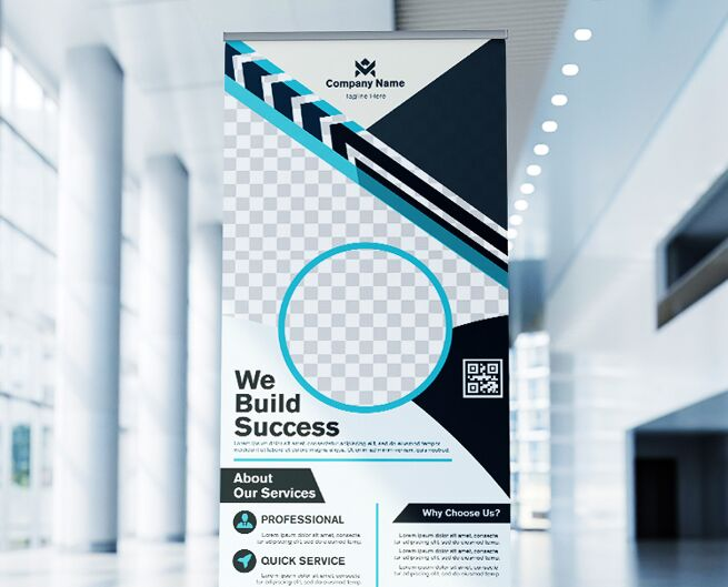 Business Roll Up Banner Vector Template