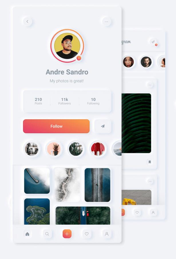Instagram Neumorphic Redesign Concept