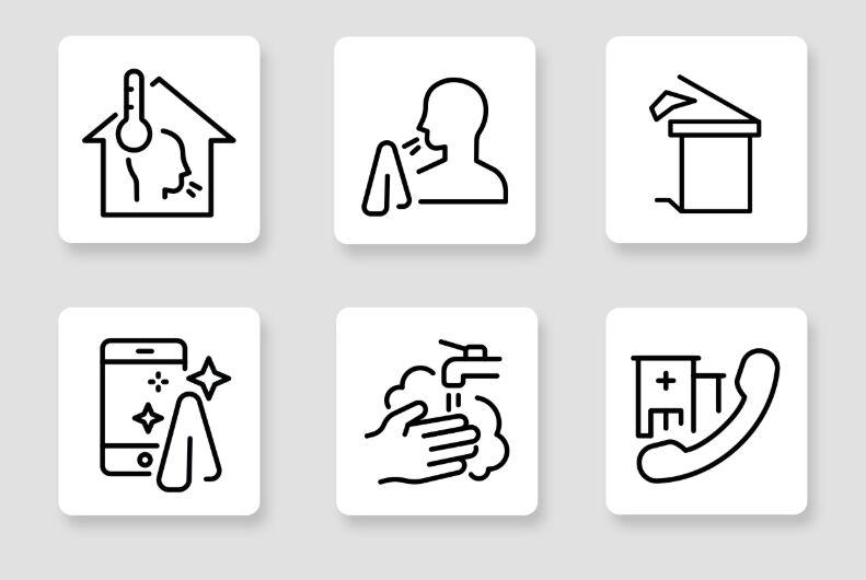 6 Coronavirus Prevention Vector Icons