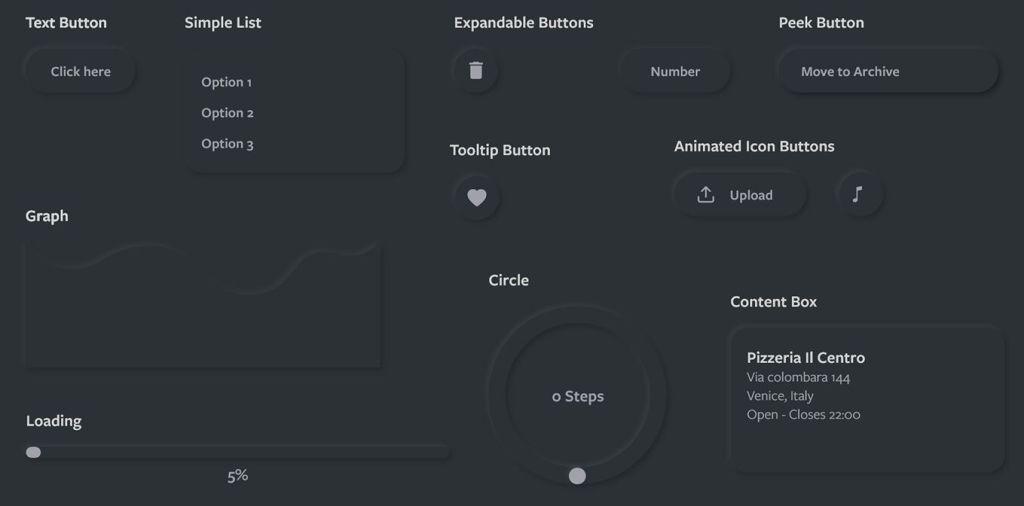 Dark Neomorphic UI Kit