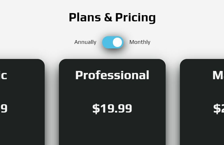 Pricing Table With Toggle Button