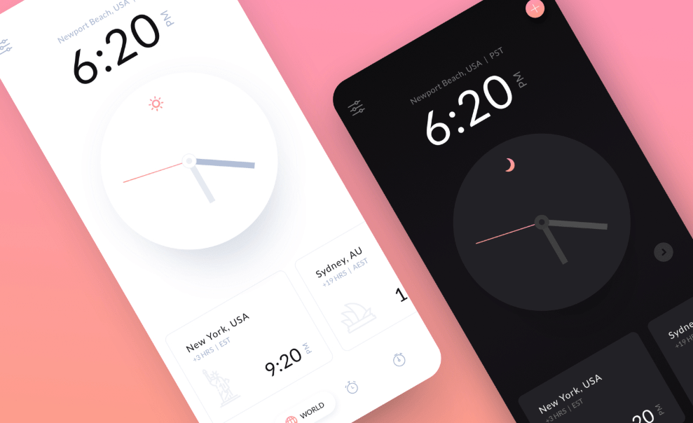iOS Clock App Light and Dark Theme