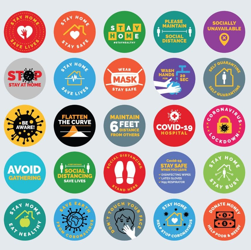 COVID-19 Signs, Symbols, Badges, Icons & Stickers