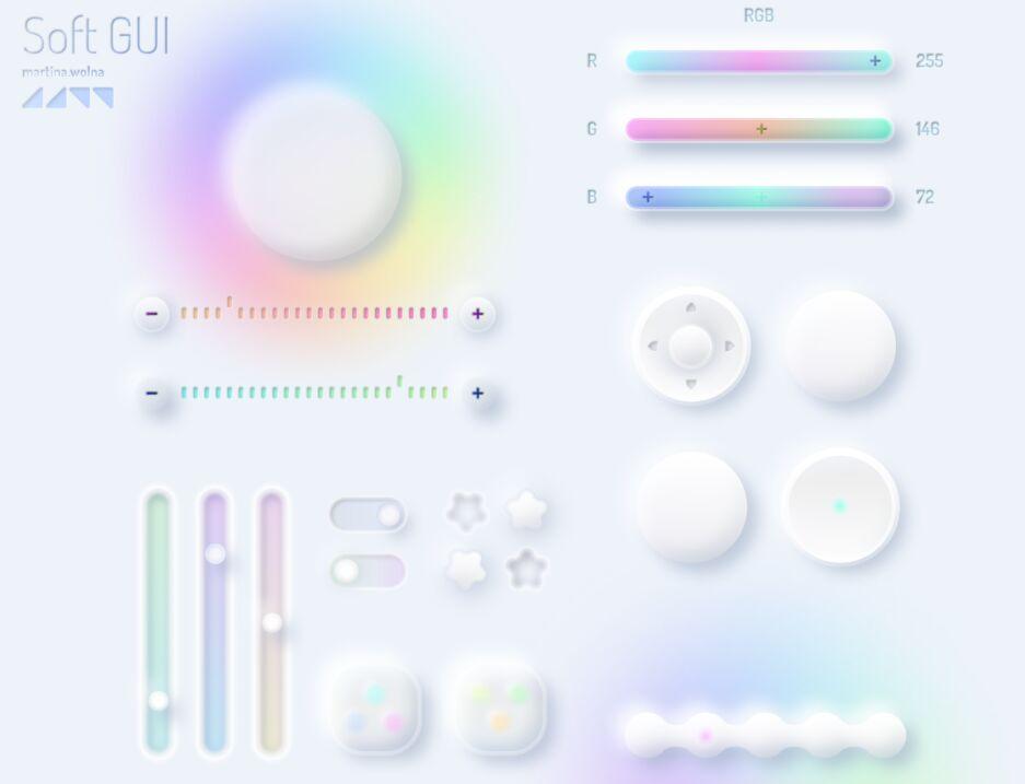 Free Neumorphic GUI Unicorn Style