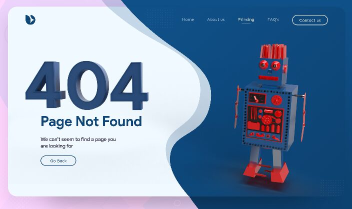 Robot 404 Not Found Error Page Template