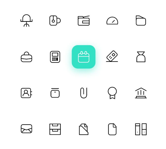 50 Thin Line office Life Icons