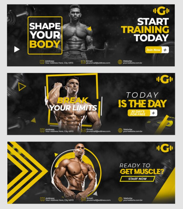 Gym And Fitness Facebook Cover 6 Models