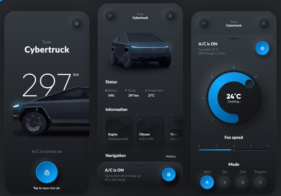 Tesla Smart App UI For Figma