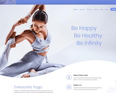 Free Yoga Web Design PSD Template