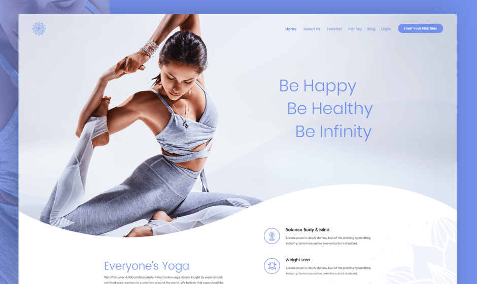 Free Yoga Web Design PSD Template