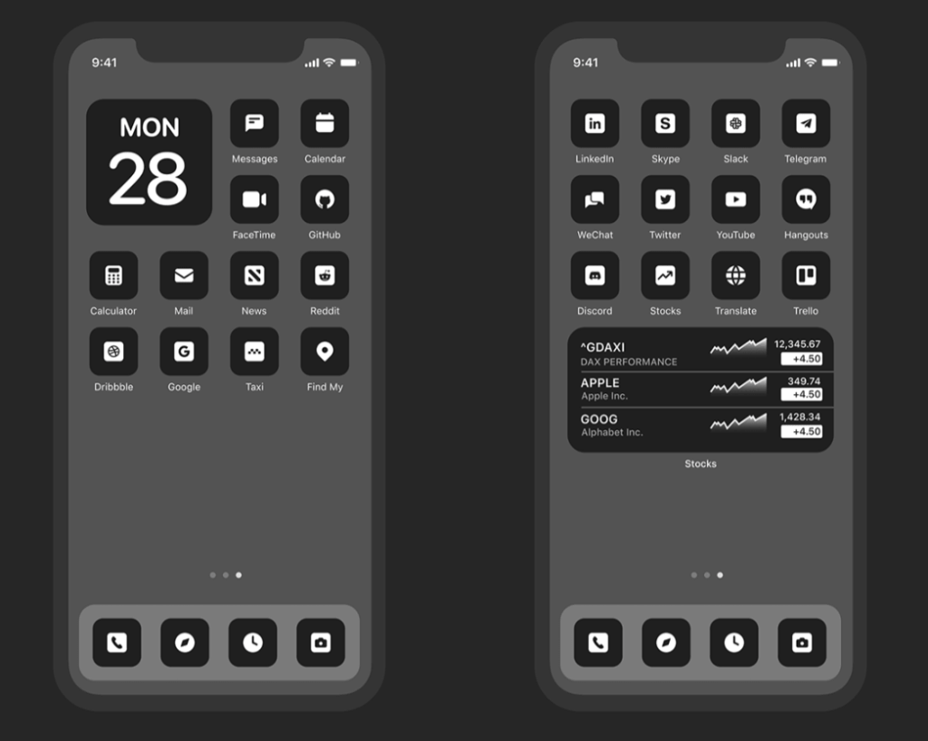 Custom App Icons For iOS 14 Dark Version