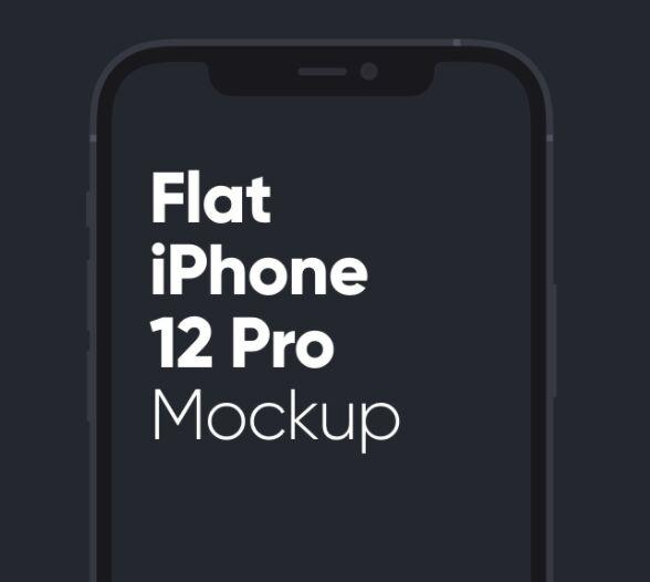 Flat iPhone 12 Pro Mockup Sketch