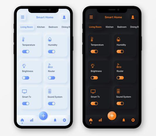 Smart Home App Neumorphism Design