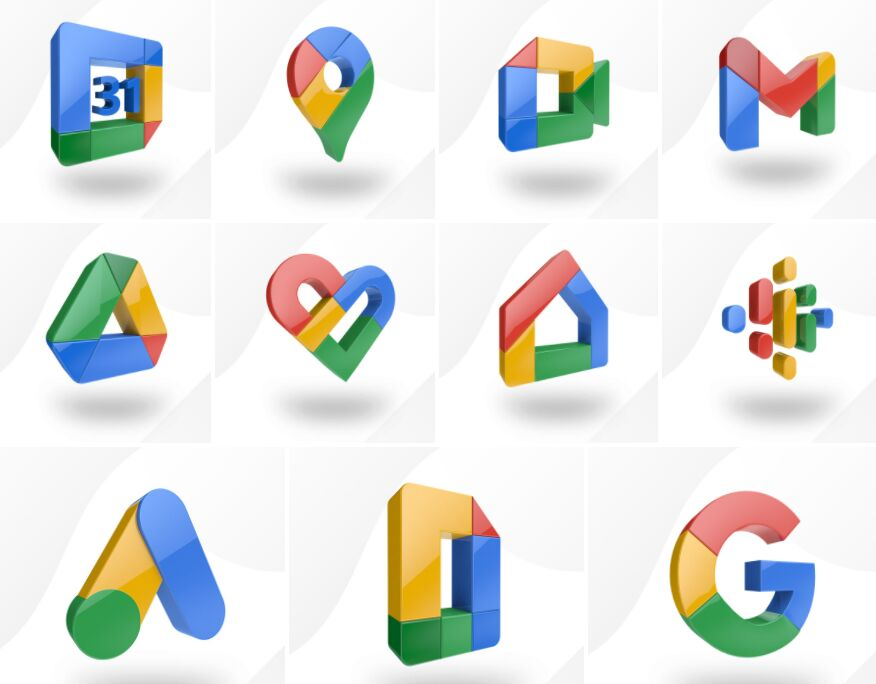 3D Google App Icon Set
