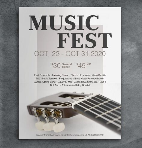 Free Music Event Poster & Mockup