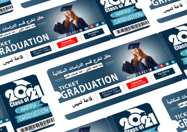 Graduation Ticket PSD Mockup