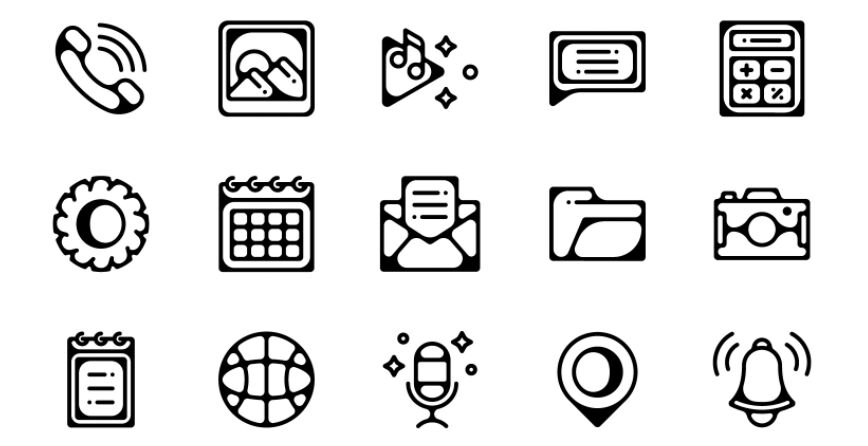Mobile Essential Icons-Black Linear Style