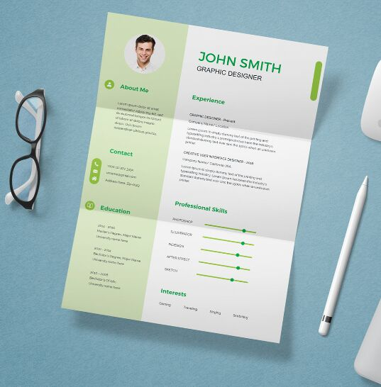 Download CV Resume Template and Mockup free PSD
