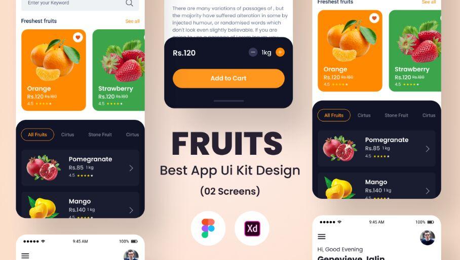 Fruits Best App Ui Kit Design