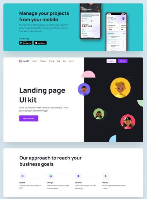 Landify Landing page UI Kit for Figma